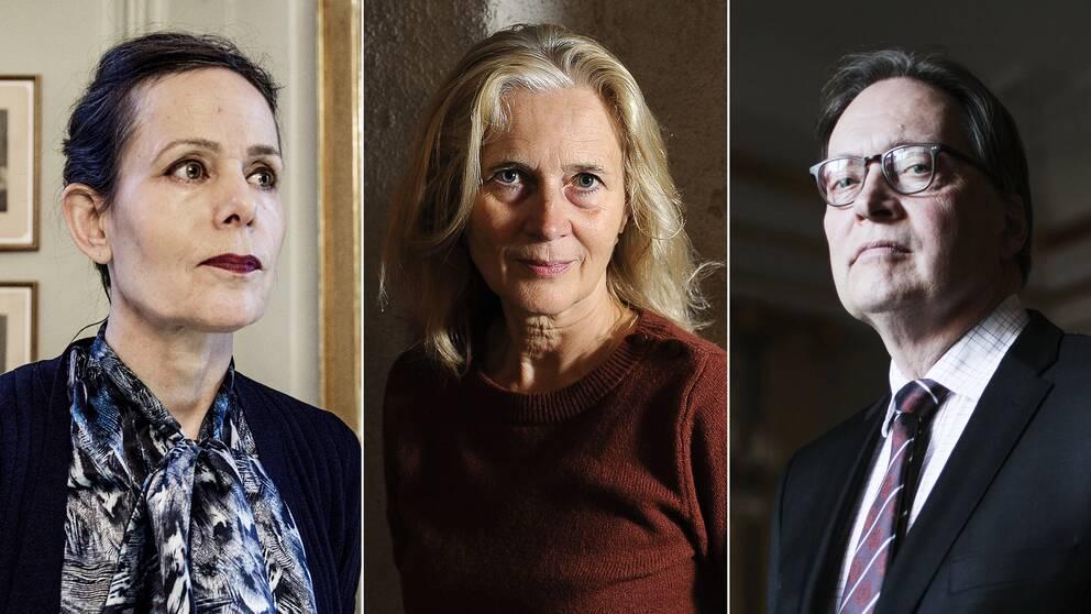 Sara Danius och Horace Engdahl är inte överens om Katarina Frostensons (mitten) framtid i Svenska Akademien.