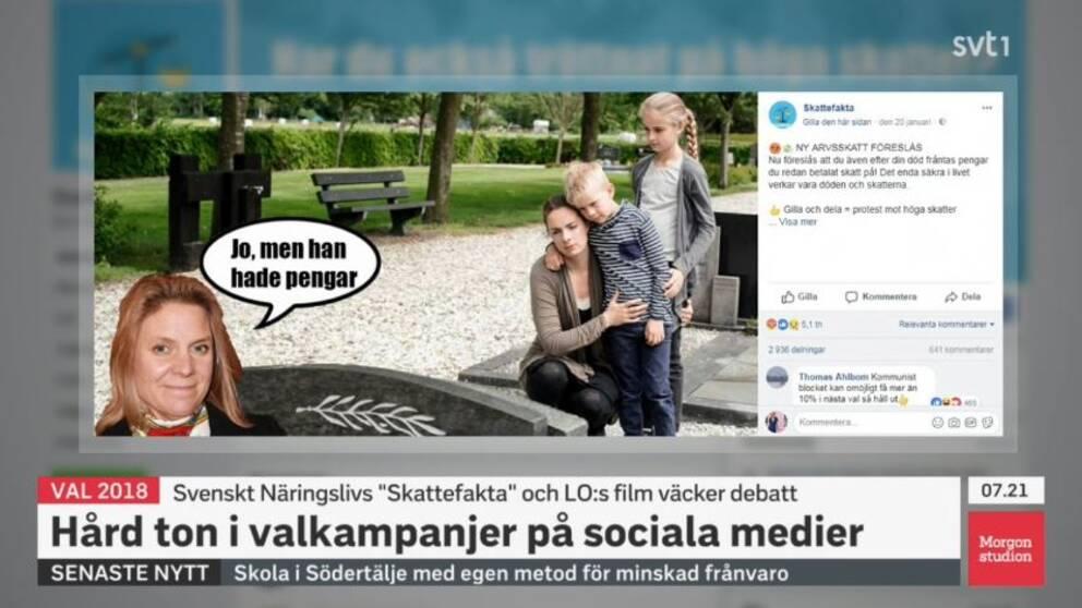 """Denna bild, publicerad på Svenskt Näringslivs Facebook-sida """"Skattefakta"""", har väckt skarp kritik."""