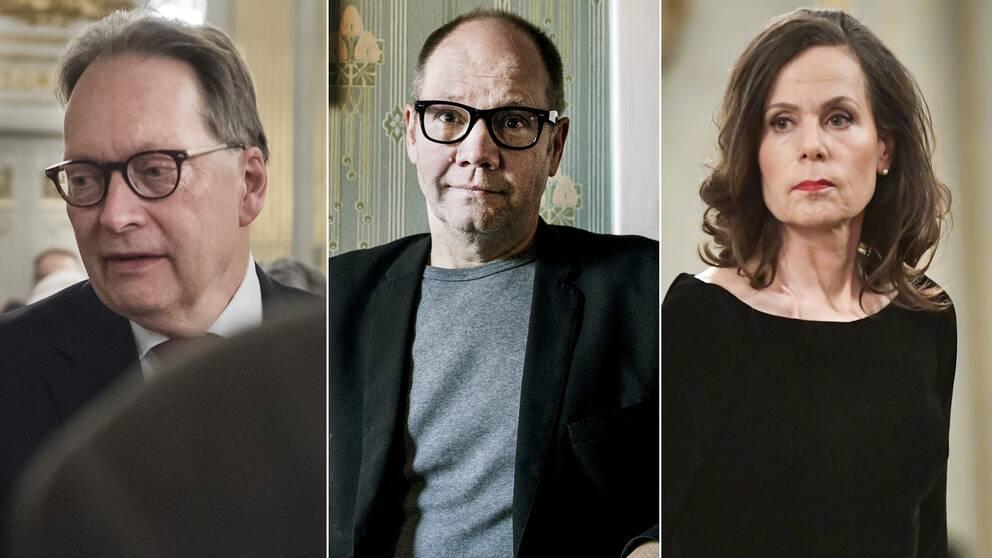 Horace Engdahl, Peter Englund och Svenska Akademiens ständiga sekreterare Sara Danius.