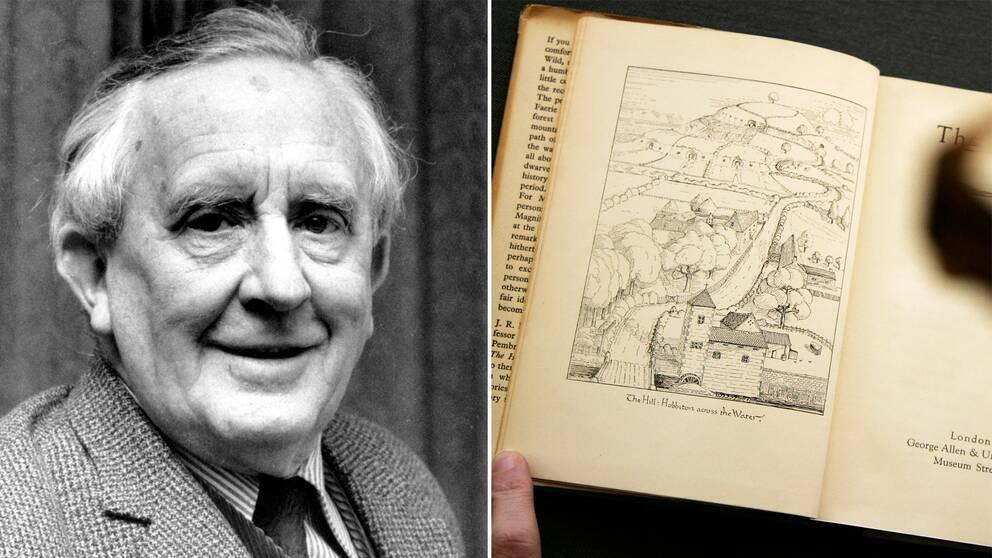 J.R.R Tolkinen år 1967 och en sida ur första upplagan av boken Bilbo – en hobbits äventyr.