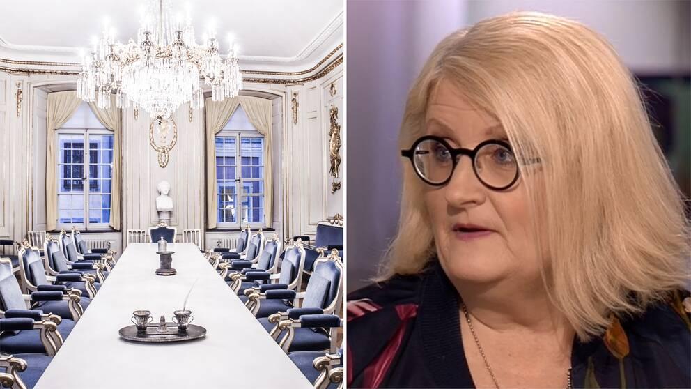 Bild inifrån Svenska Akademien och bild på mediestrategen Brit Stakston