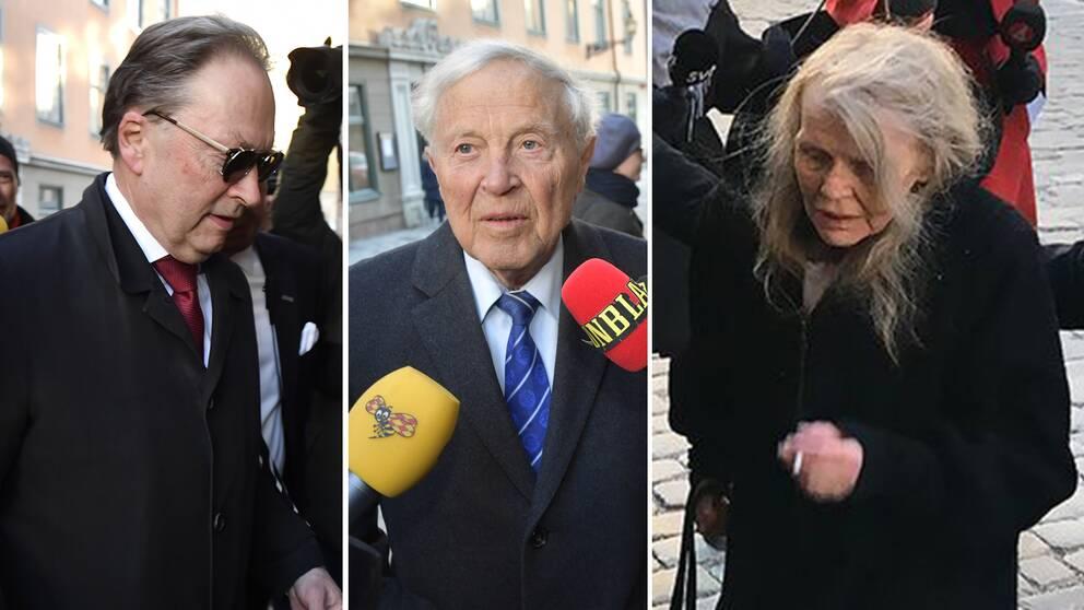 Horace Engdahl, Sture Allén och Kristina Lugn på väg in mot sammanträdet med Svenska Akademien under onsdagen.