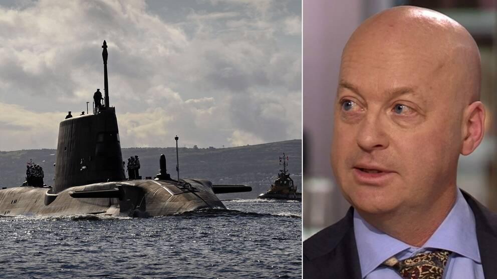 Den brittiska ubåten Ambush på väg ut på övningsuppdrag 2012, samt den svenska Natoexperten Mike Winnerstig
