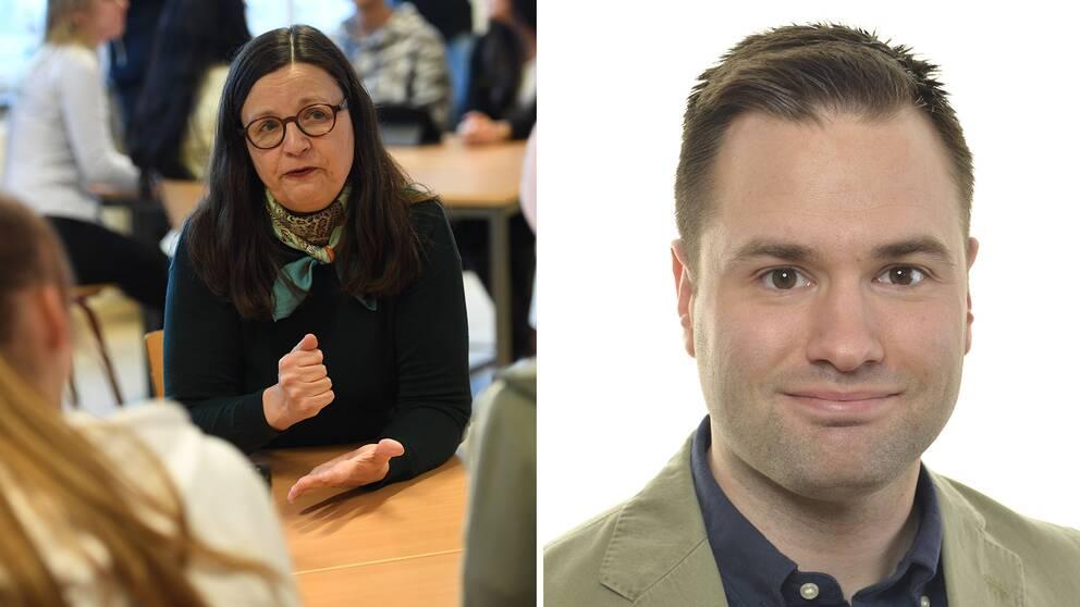 Anna Ekström (S) och Erik Bengtzboe (M) är inte överens kring estetiska ämnen på gymnasiet.