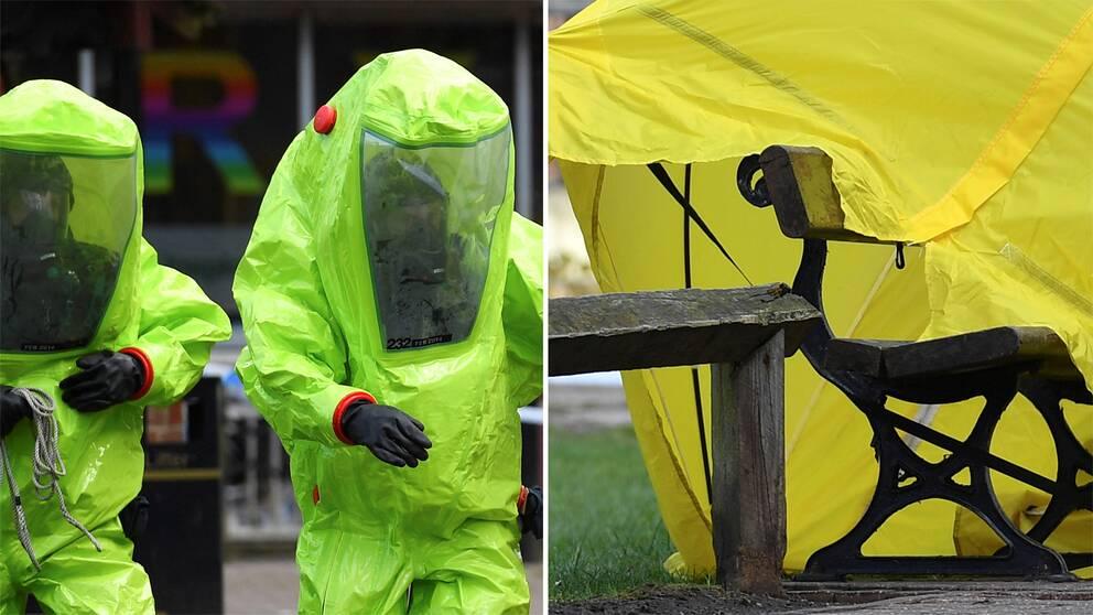 Två personer i skyddsutrustning samt bänken där de förgiftade hittades.