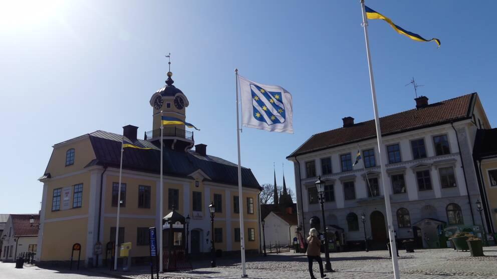 torg rådhustorget söderköping gamla stadhuset (?) flagga kommunens vapen logga