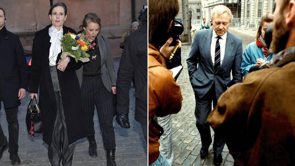 Sara Danius lämnar börshuset efter sin avgång under torsdagen. Sture Allén lämnar samma börshus 1989, efter att Akademien beslutat att inte kommentera dödshotet mot Salman Rushdie.