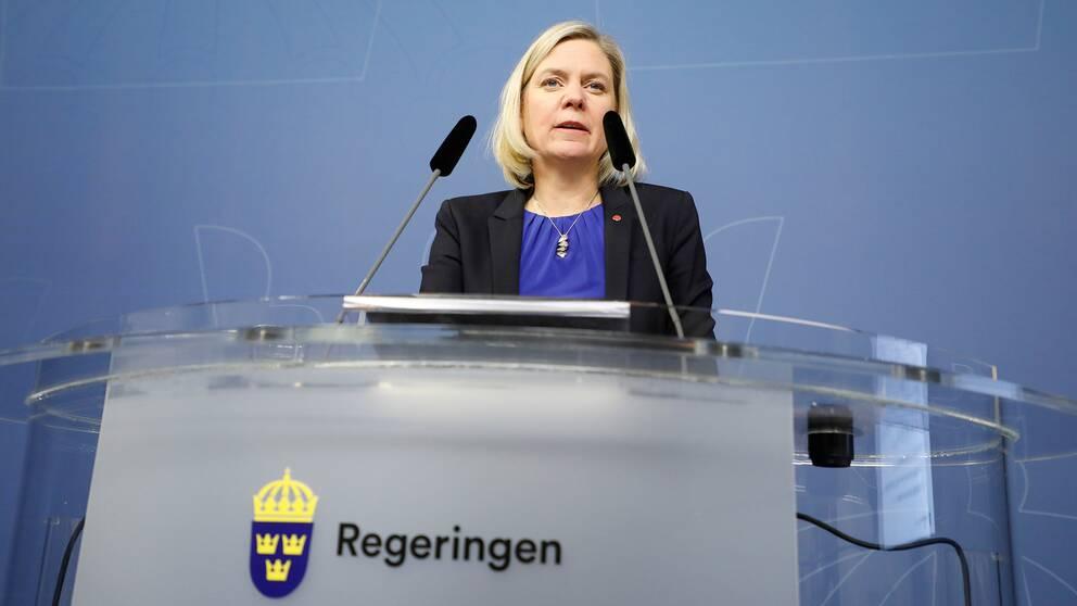 Finansminister Magdalena Andersson (S) presenterar vårbudgeten.