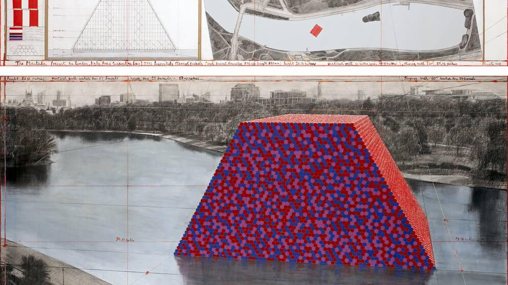 En skiss över hur Christos senaste verk Mastaba kommer att se ut i Hyde Park i sommar.