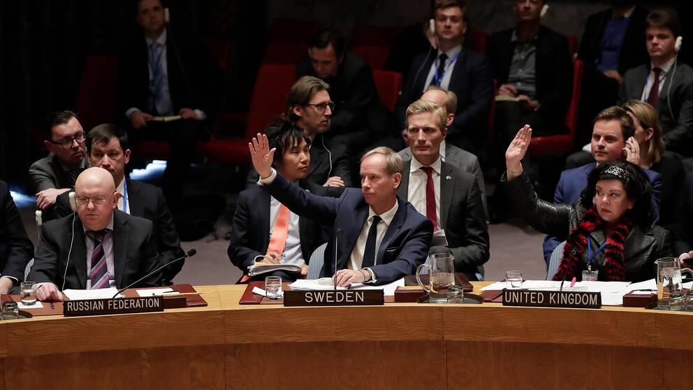 Rysslands, Sveriges och Storbritanniens FN-ambassadörer i säkerhetsrådet.