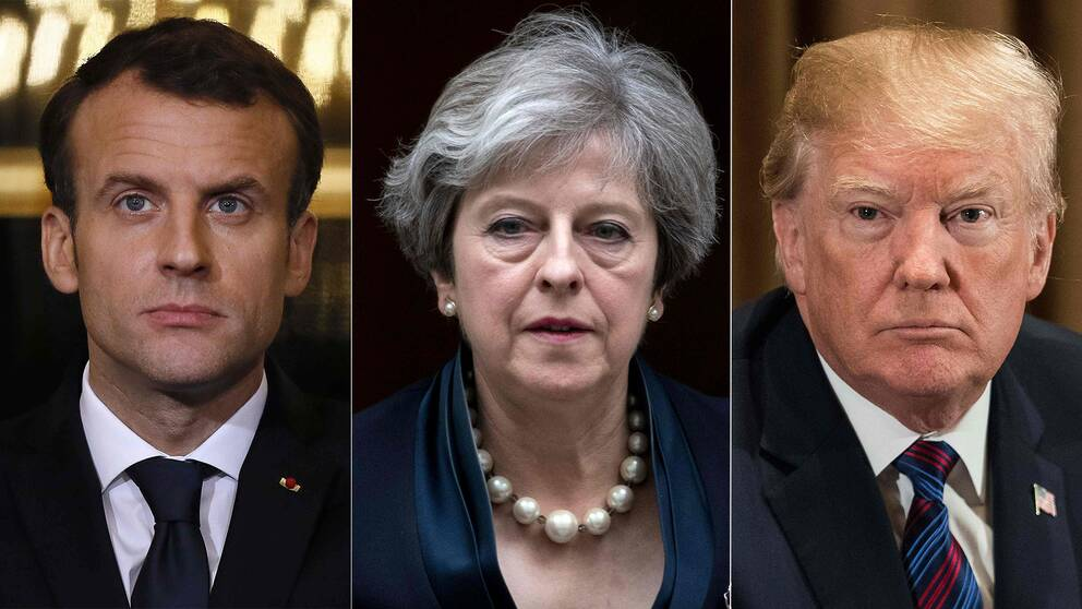 En tredelade bild på franske presidenten Macron, brittiska premiärministern May och USA:s president Donald Trump