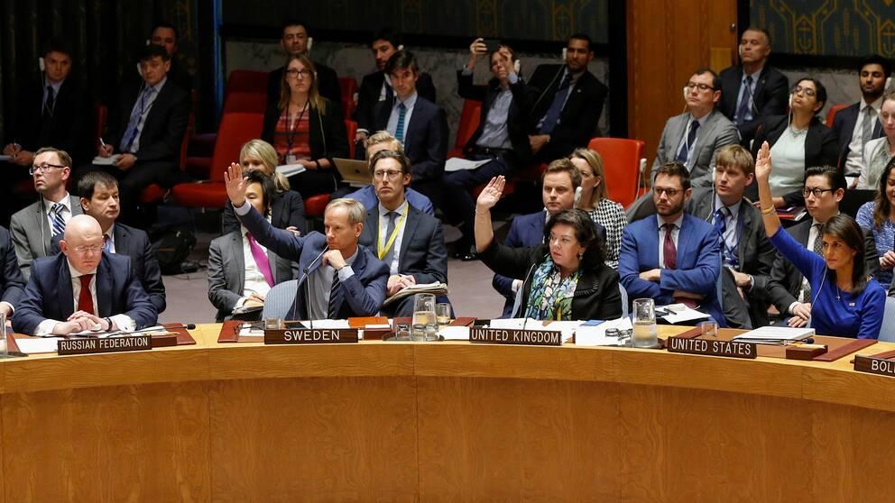 FN-ambassadörer från flera länder röstar genom att hålla upp händer.