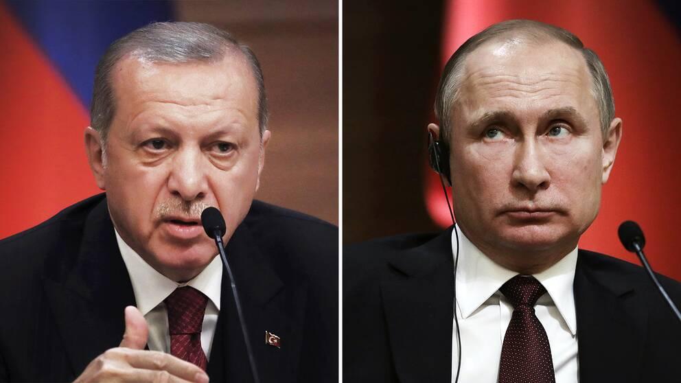 Turkiets president Erdogan och Rysslands dito Putin.