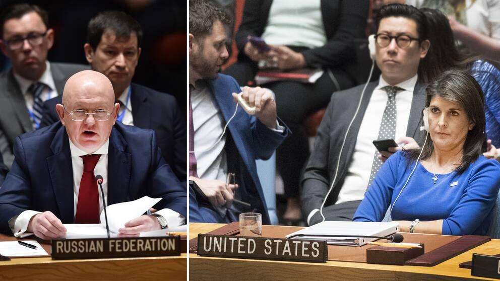 Rysslands FN-ambassadör Vasilj Nebenzja och USA:s motsvarighet Nikki Haley möttes i FN:s säkerhetsråd för första gången efter västländernas anfall i Syrien.