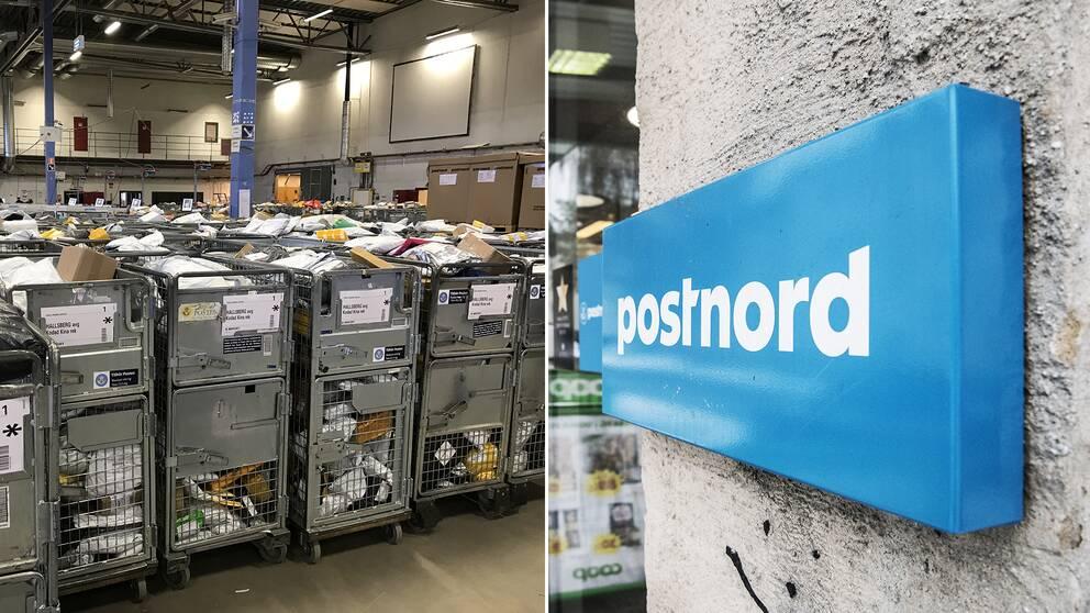 Delad bild: En på flera paket som förvaras i postens lager, samt en bild på en Postnord-skylt utanför en matvarubutik.