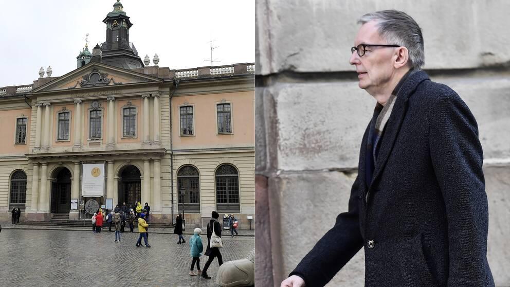 Delad bild: En utanför Svenska Akademin och en på Akademiens direktör och tillfällige ständige sekreterare Anders Olsson.