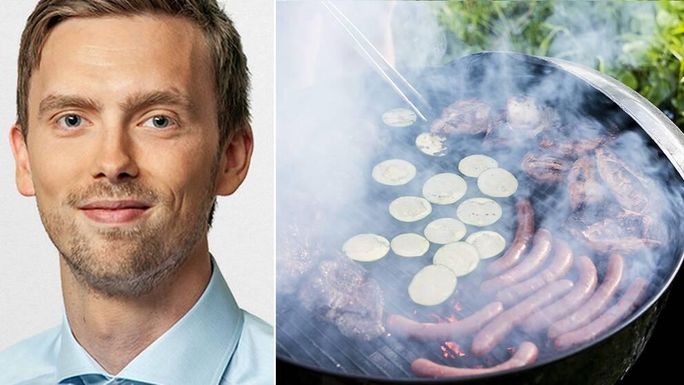 Kollage. Porträttbild på man/kött och grönsaker grillas utomhus