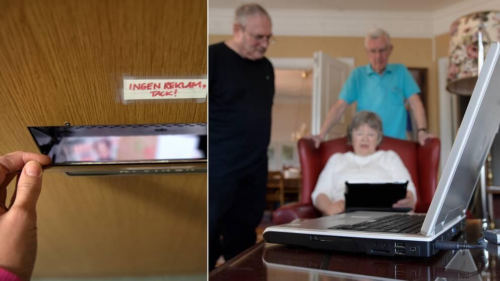 Äldre som tittar på en dator