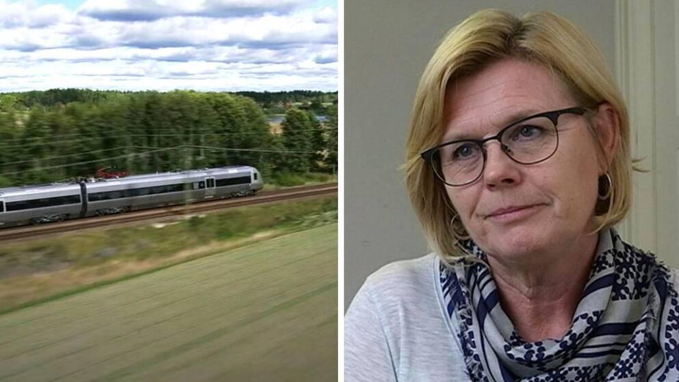 Kommunalrådet Ann-Marie Nilsson (C) och ett tåg