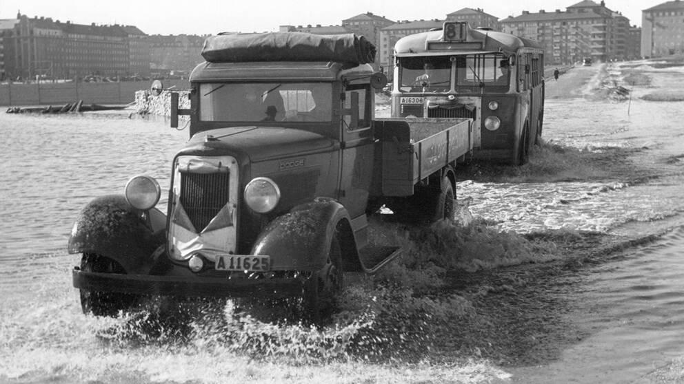 Översvämning i Stockholm på 1940-talet.