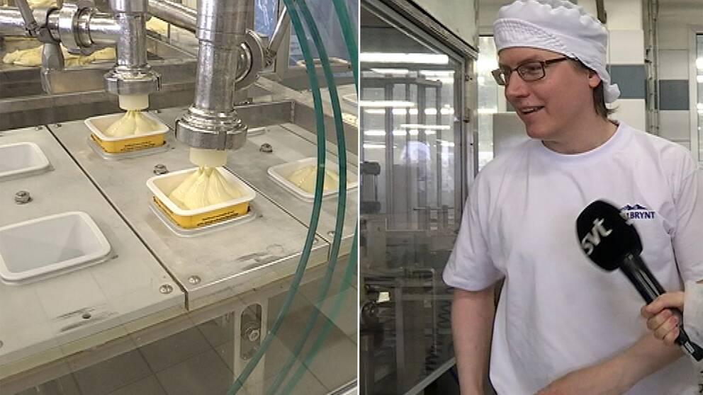 ett paket messmör rullar i produktion och en ung man med glasögon