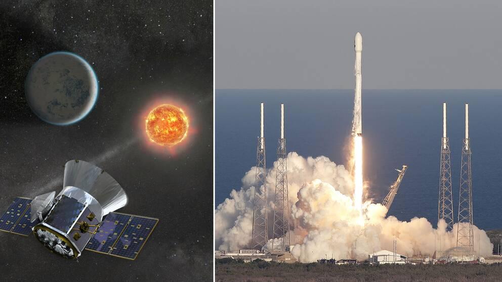 Uppskjutningen av Falcon 9 och rymdteleskopet TESS.