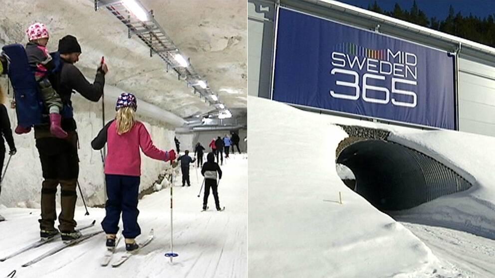 Bild med barnfamilj som åker skidor inne i en snöig skidtunnel, och en bild på ingången till tunneln med en skylt med text r Mid Sweden 365.
