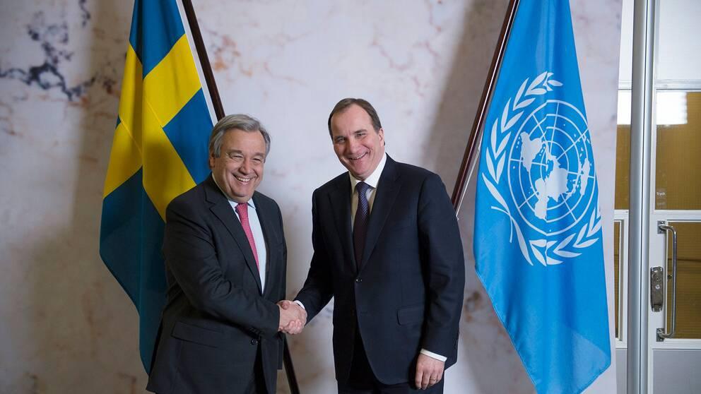 Statsminister Stefan Löfven och FN:s generalsekreterare António Guterres ska träffas både i Backåkra på lördag och i Stockholm på måndag.