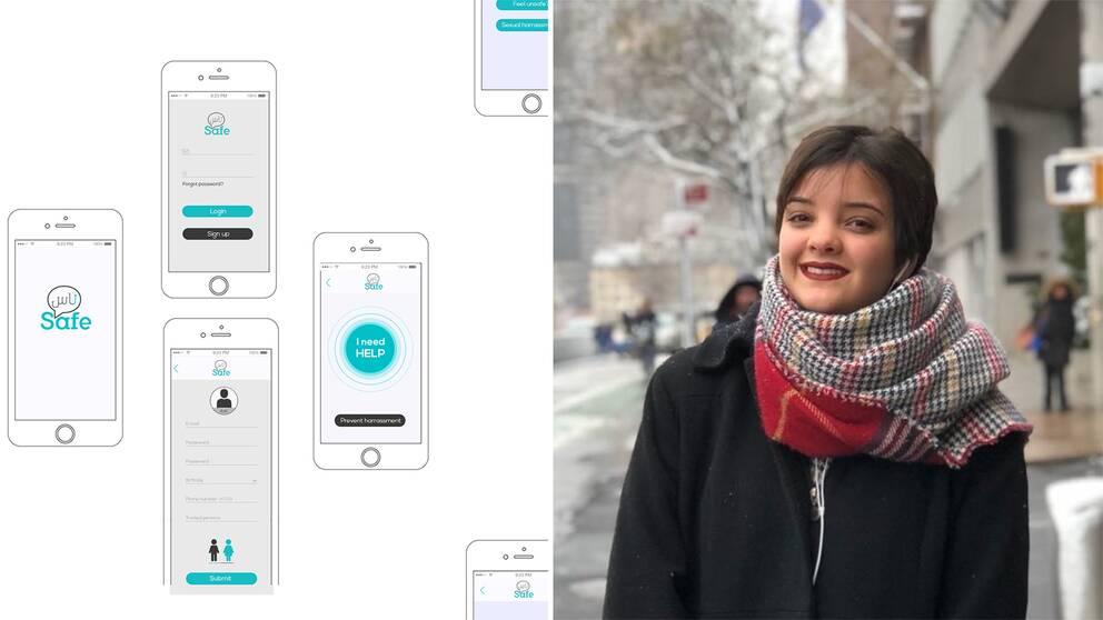 Prototyp över appen Safe'Nes samt medgrundaren och studenten Salma Belhassine.
