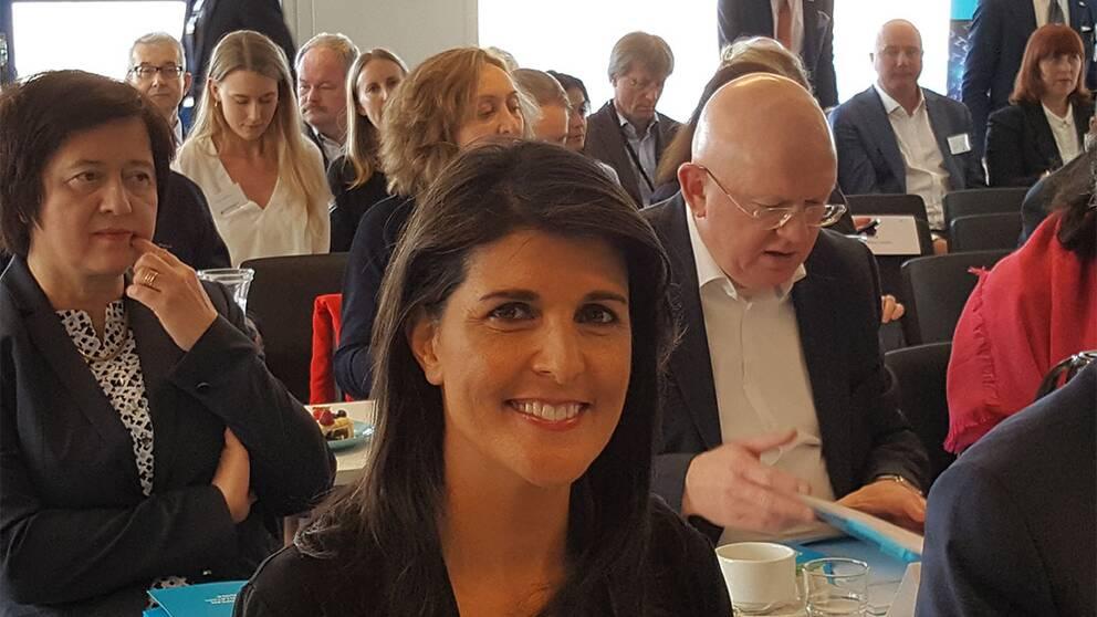 Säkerhetsrådet med bland andra FN-ambassadörerna från USA och Ryssland, Nikki Haley och Vassilij Nebenzia lyssnar på ett föredrag av chefen för ESS i Lund.