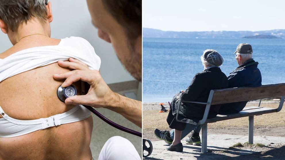Arkivbilder av en hälsoundersökning och ett äldre par.