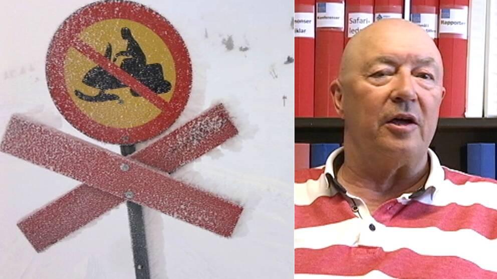 vägmärke skoterförbud på en ledstolpe i snön, och närbild på en man