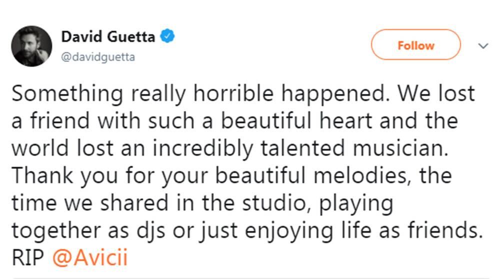 DJ-stjärnan David Guetta sörjer sin vän Avicii på Twitter.