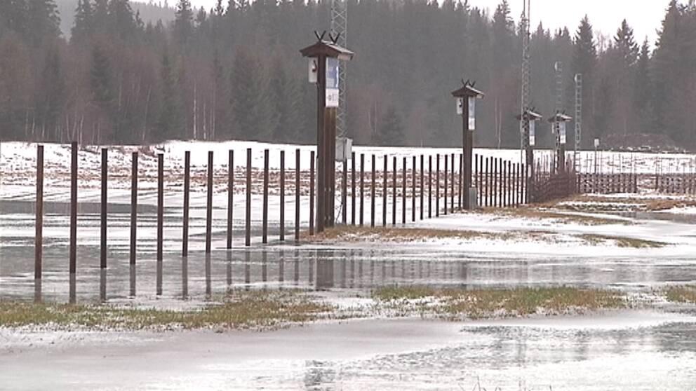 Blidvädret kring årsskiftet gick hårt åt snötillgången i Vasaloppets spår. Så här såg det ut i Sälen den 7 januari.
