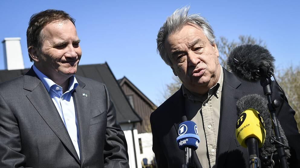 Statsminister Stefan Löfven och FN:s generalsekreterare Antonio Guterres håll en gemensam pressträff i Backåkra.