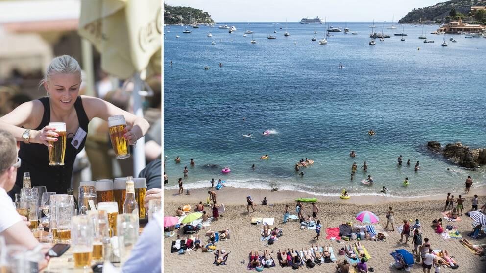 En uteservering och strand i Frankrike.