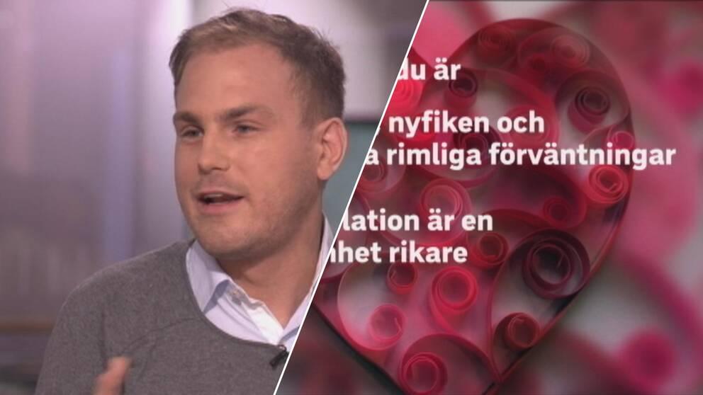 Till vänster deltagaren Magnus Carlsson. Till höger syns en smygtitt på kärlekstipsen deltagarna har.