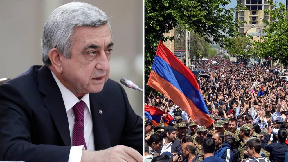 Armeniens avgående premiärminister Serrzj Sargsian och bild på protesterna mot honom.