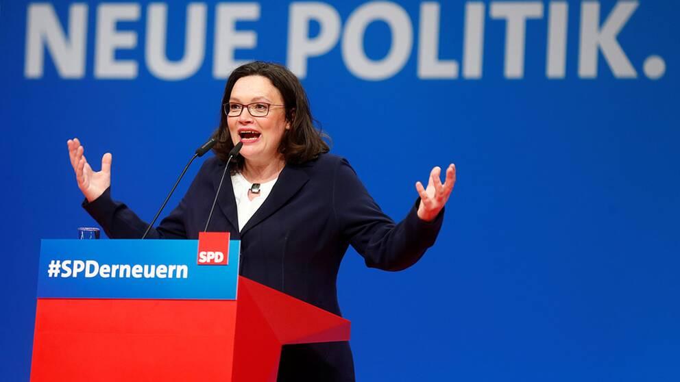 Andrea Nahles är ny partiledare för det tyska socialdemokratiska partiet och ska försöka lyfta partiet från en bottennivå.