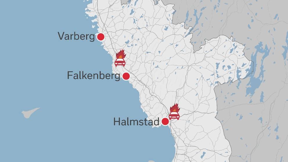Karta över bilbränder i Halland.