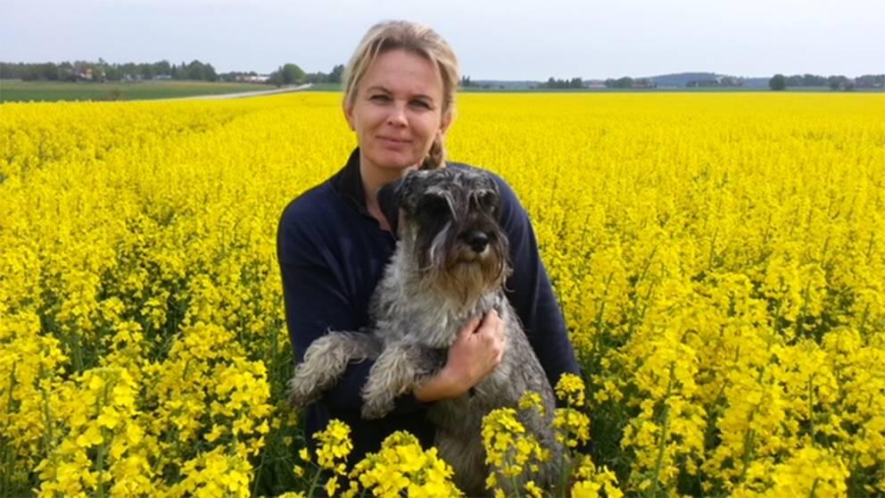 Karola Reuterström odlar oljeväxten raps på Stora Lövhulta gård i Eskilstuna men risken att skörden förstörs har ökat insektsgiftet förbjudits.