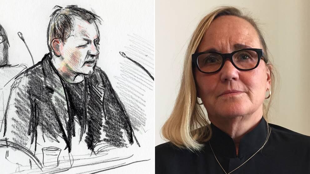 Tecknad bild av Peter Madsen, samt en bild på advokaten Ingela Hessius.