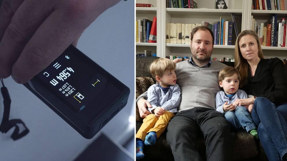 Till vänster: närbild på lasermätare. Till höger: familjen Monsén.