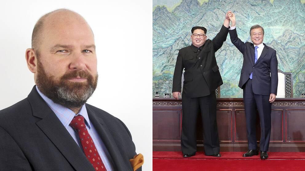 Delad bild: Först en bild på säkerhetsanalytikern Niklas Swanström, sedan en bild på Nordkoreas ledare Kim Jong-Un och Sydkoreas president Moon Jae-In.