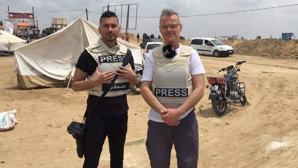 SVT:s fotograf Pablo Torres och utrikesreporter Claes JB Löfgren på plats i Gaza.