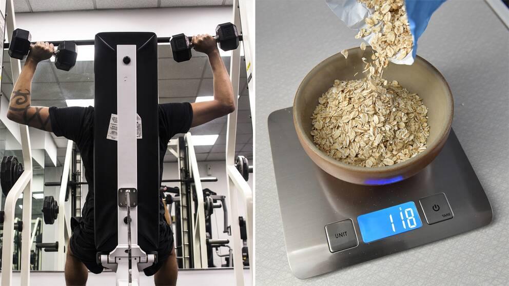 En man som lyfter vikter på gym samt en hushållsvåg där mängden havregrynsgröt vägs upp.