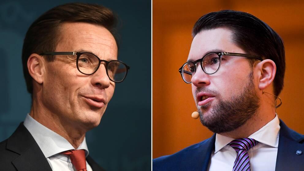 Moderaternas partiledare Ulf Kristersson och Sverigedemokraternas partiledare Jimmie Åkesson.