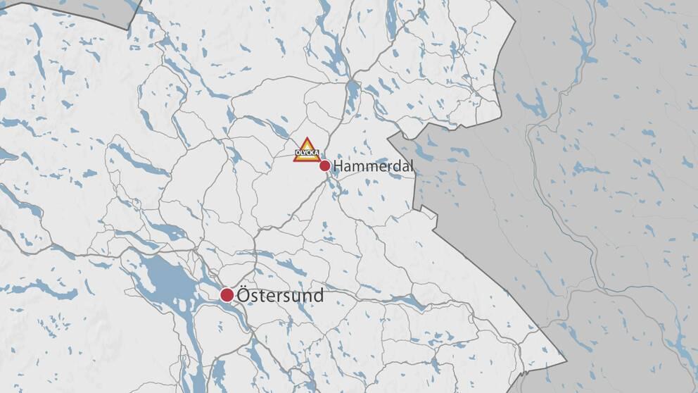 En karta över delar av Jämtland där olycksplatsen är markerad med en symbol för olycka.