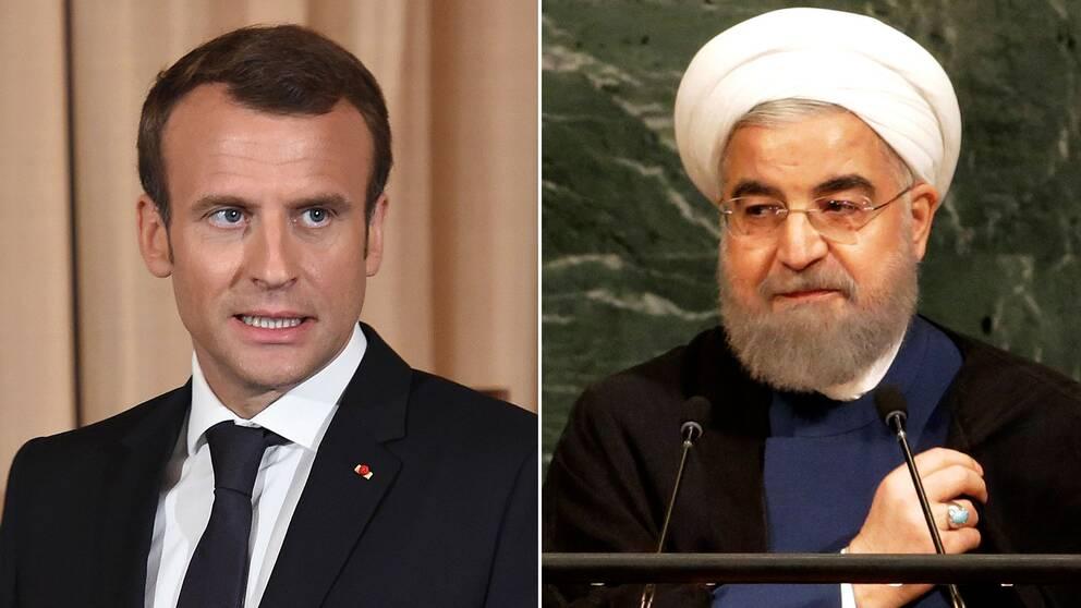 Emmanuel Macron och Hassan Rouhani.