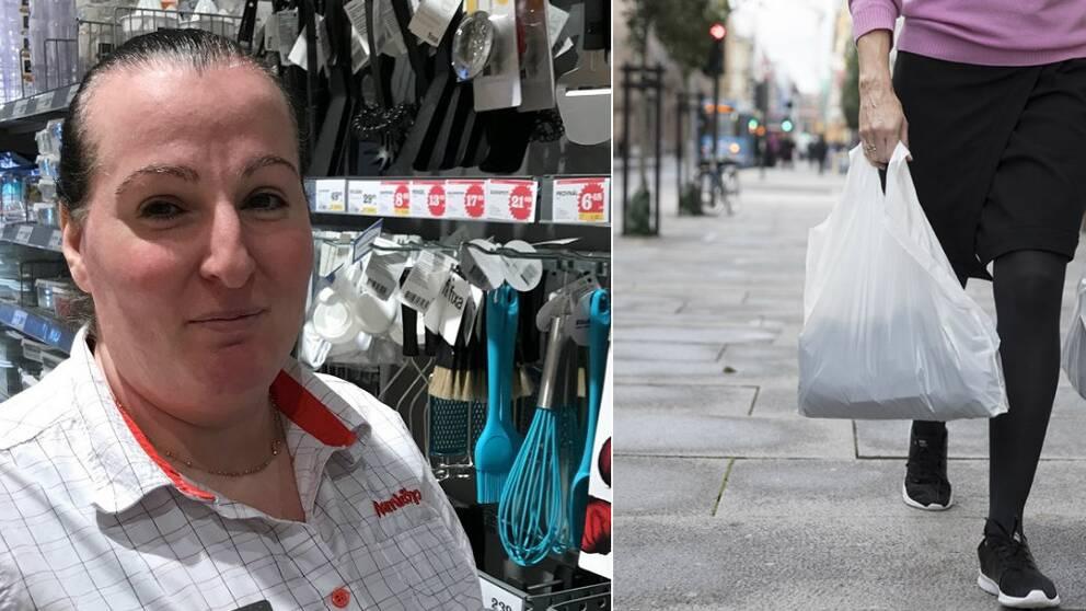 Vivian Zhaco arbetar i en matbutik. Kvinna som bär platspåsar.